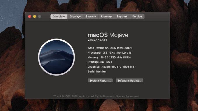 macOS Mojave 10 14 1 Update released - Desktop Coffee Lake CPU's now