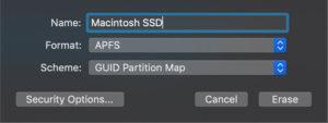 SSD format settings