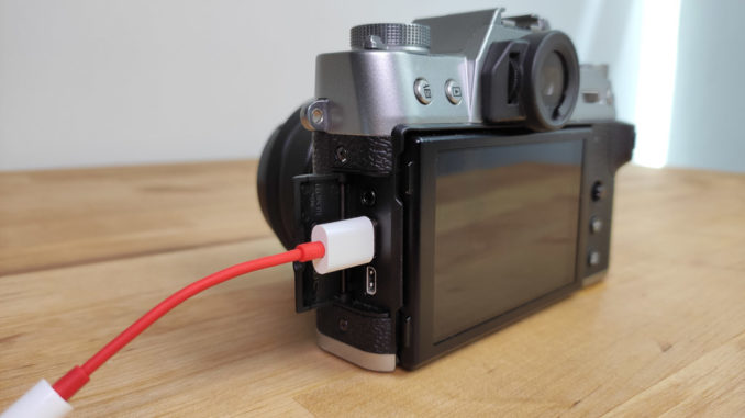 OnePlus USB-C Adapter connected to Fuji X-T30
